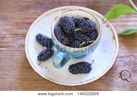 Fresh sweet mulberry in cup on wooden table