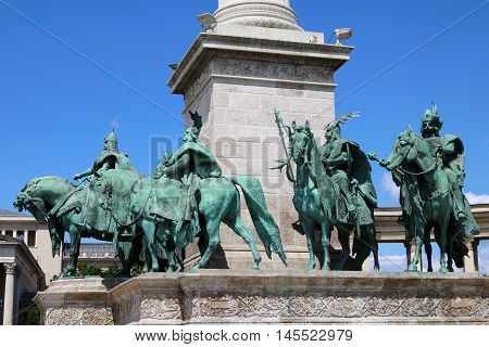 Statues of the Chieftains at the Hero Square in Budapest Hungary