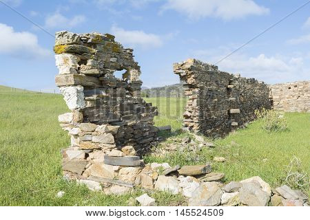 Old coastal homestead in ruins situated near Talisker Conservation Park and Deep Creek South Australia.
