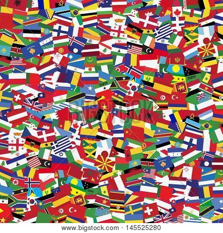 Flags of the world and map on white background. illustration.