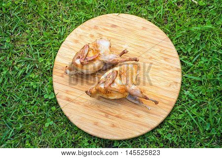 Roasted Partridge, quail on the wooden round board on green grass. Top view.