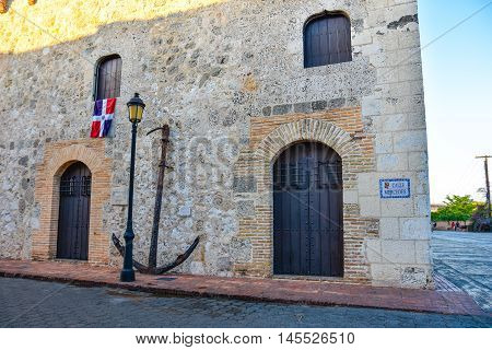 SANTO DOMINGO, DOMINICAN REPUBLIC - January 29, 2016: View of Museum of Casas Reales, particular of the old anchor of the galleon Conde De Tolosa.