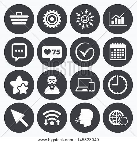 Calendar, wifi and clock symbols. Like counter, stars symbols. Internet, seo icons. Tick, online shopping and chart signs. Anonymous user, mobile devices and chat symbols. Talking head, go to web symbols. Vector