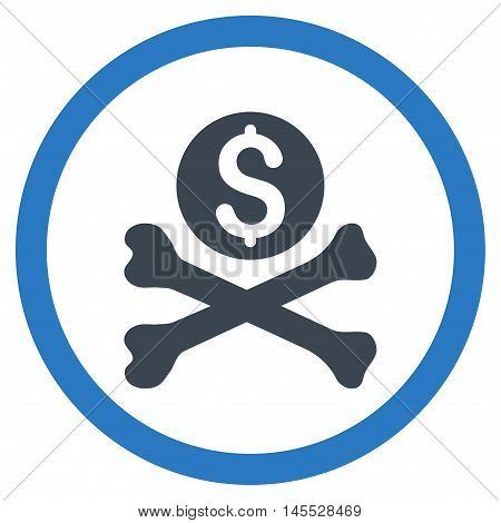 Mortal Debt vector bicolor rounded icon. Image style is a flat icon symbol inside a circle, smooth blue colors, white background.