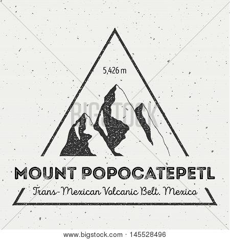 Popocatepetl In Trans-mexican Volcanic Belt, Mexico Outdoor Adventure Logo. Triangular Mountain Vect