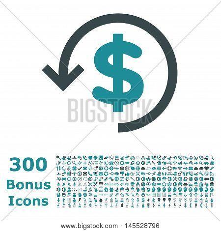 Refund icon with 300 bonus icons. Glyph illustration style is flat iconic bicolor symbols, soft blue colors, white background.