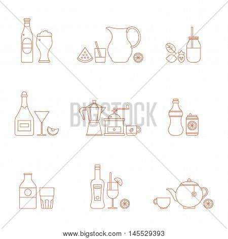 Vector drink icon set. Thin line style design. Serving beverages in ware. Part 2