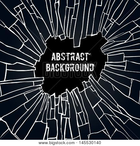 Abstract background with the effect of broken glass. Black broken glass background vector illustration