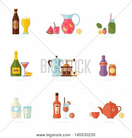 Drink icon set. Alcoholic and non-alcoholic beverages. Vector illustration, isolated on white.