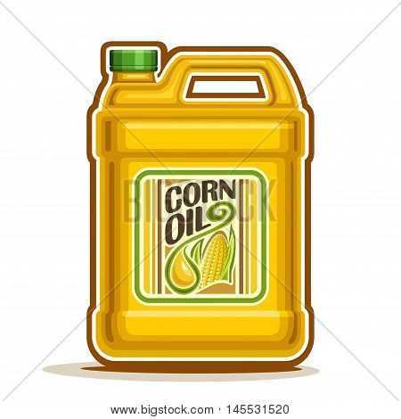 Vector logo big yellow plastic Bottle with Corn Oil and label, gallon canister filled maize cooking oil, cartoon large container with viscous liquid with cap and handle, closeup isolated on white.