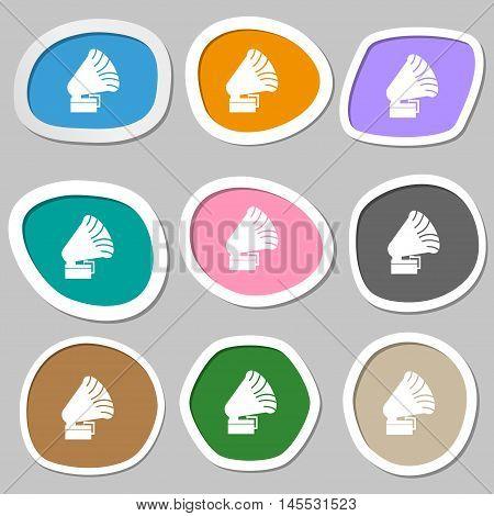 Gramophone Icon. Symbols. Multicolored Paper Stickers. Vector