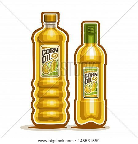 Vector logo 2 yellow plastic and glass Bottle with pure Corn Oil and label, bottles refined virgin maize cooking oil, cartoon large container with viscous liquid with cap, closeup isolated on white.