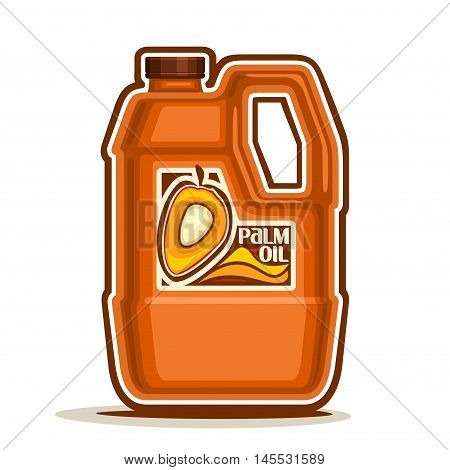 Vector logo big orange plastic Bottle with Palm Oil fruits and label, gallon canister pure cooking oil, cartoon large container with organic liquid with cap and handle, closeup isolated on white.