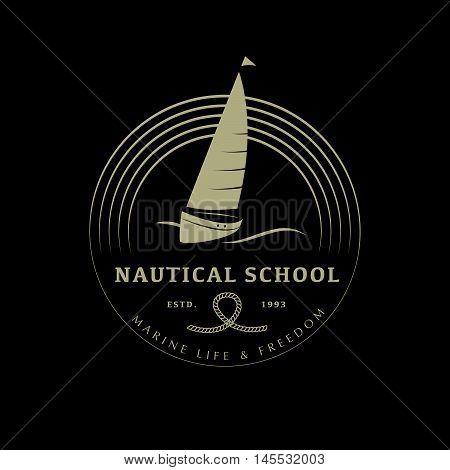 Vector flat yacht club, regatta logo design. Sailing boat, ship icon, silhouette. Emblem, badge template. Nautical school, club brand mark sample.