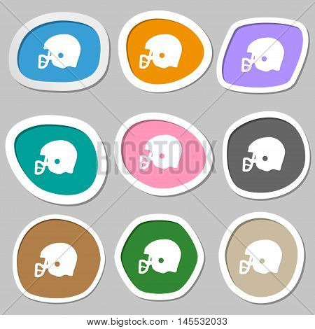 American Football Helmet Icon Symbols. Multicolored Paper Stickers. Vector