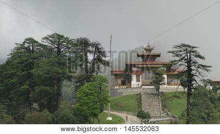 Fog over Druk Wangyal Lhakhang Dochula Pass Bhutan