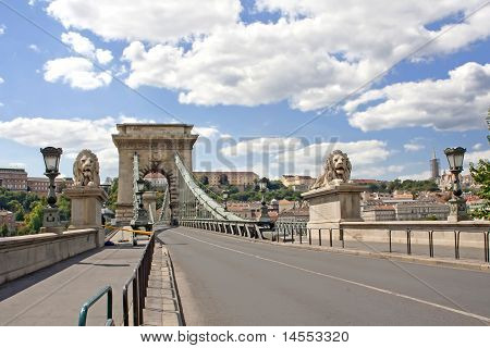 Lion Bridge In Budapest