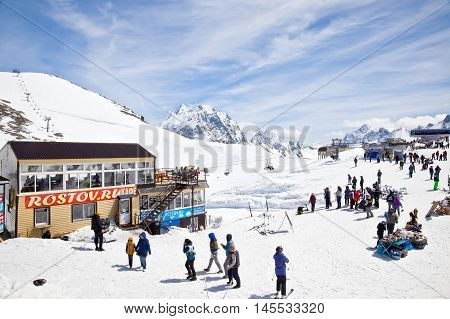 DOMBAY RUSSIA - May 03.2015: Little tourist accessories market and cafe on the first level of getting up on the mountain Mussa-Achitara
