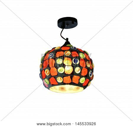 Warm lighting modern ceiling lamps isolated on white background and has clipping paths.