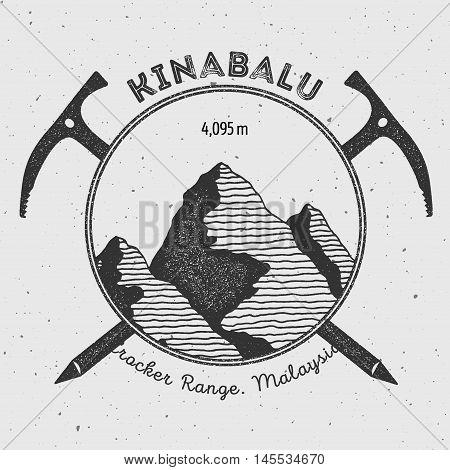 Kinabalu In Crocker Range, Malaysia Outdoor Adventure Logo. Climbing Mountain Vector Insignia. Climb