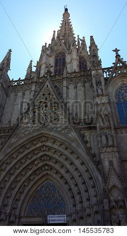 Cathedral of the Holy Cross and Saint Eulalia in Barcelona, Spain
