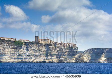 Bonifacio City Seen From The Sea, Corsica