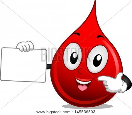 Mascot Illustration of a Drop of Blood Holding a Blank Board