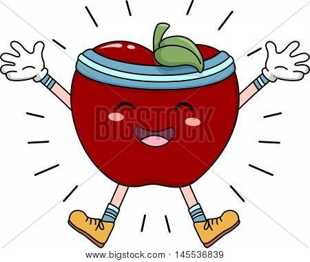 Mascot Illustration of an Apple Doing Jumping Jacks