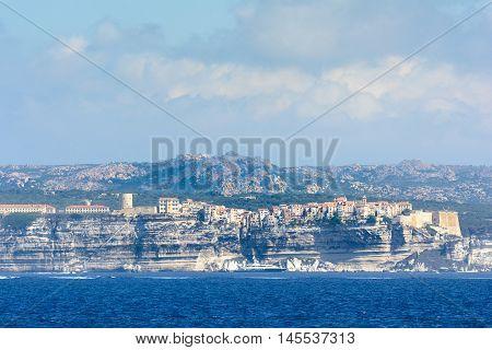Panoramic View Of Bonifacio City Seen From The Sea, Corsica