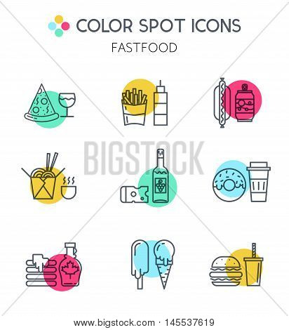Different types of food delivery elements and illustrations in trendy linear style. For cafe, web, print, business.