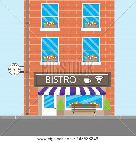 Bistro building cafeteria. Cafe or restaurant bistro cafe coffee shop vector illustration
