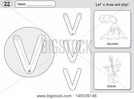 Cartoon Volcano And Violin. Alphabet Tracing Worksheet: Writing A-z And Educational Game For Kids