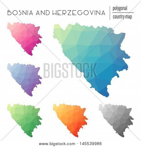 Set Of Vector Polygonal Bosnia And Herzegovina Maps. Bright Gradient Map Of Country In Low Poly Styl