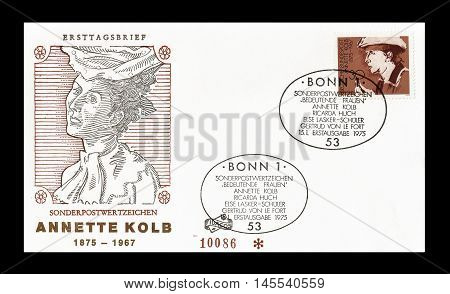 GERMANY - CIRCA 1975 : Cancelled First Day Cover letter printed by Germany, that shows Annete Kolb.