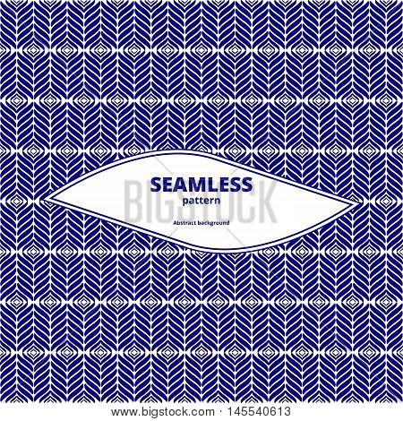 Seamless herringbone blue. Graphic linear design. Geometric contrast image. Abstract diagonal pattern. Vector illustration.