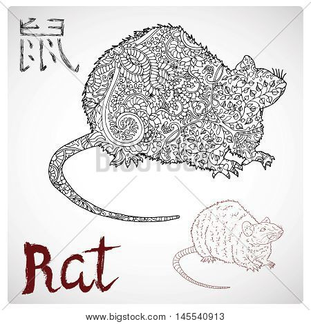 Hand drawn illustration of rat or mouse with zen pattern and lettering. Zodiac animal sign, horoscope and astrological vector symbol. Graphic drawing for coloring book. Chinese hieroglyph means Rat