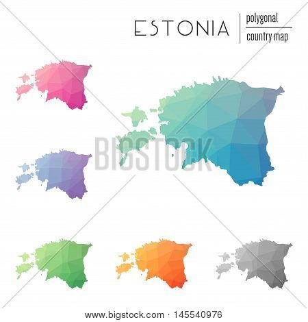 Set Of Vector Polygonal Estonia Maps. Bright Gradient Map Of Country In Low Poly Style. Multicolored