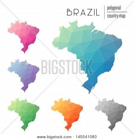 Set Of Vector Polygonal Brazil Maps. Bright Gradient Map Of Country In Low Poly Style. Multicolored