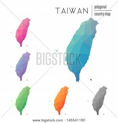 Set Of Vector Polygonal Taiwan, Republic Of China Maps. Bright Gradient Map Of Country In Low Poly S