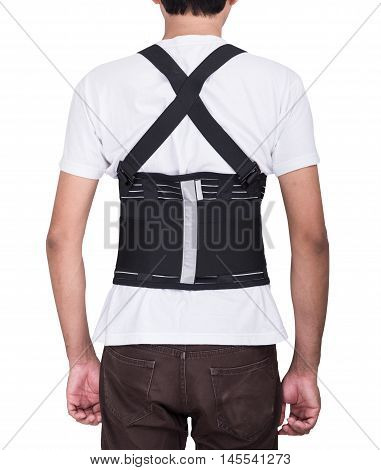 Worker Man Wear Back Support Belts