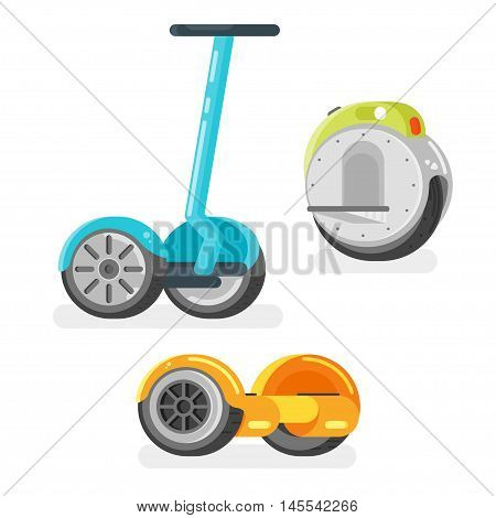 Vector flat style set of battery-powered electric vehicles on white background. Modern ecological transport. Gyro scooter and unicycle scooter.