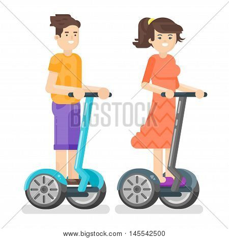 Vector flat style illustration of young man and woman riding an two-wheeled vehicle. Boy and girl using battery-powered electric vehicle. Isolated on white background. Modern transport.