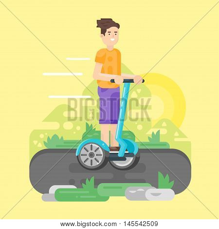 Vector flat style illustration of young man riding an two-wheeled vehicle. Boy using battery-powered electric vehicle.