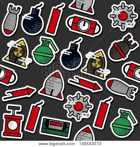 Colored Bomb icons pattern. Vector illustration EPS 10