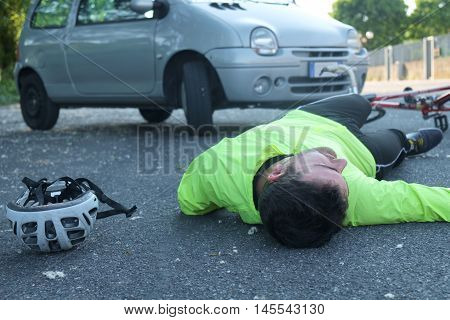 Fainted Man After Bicycle Accident