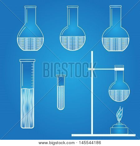 Chemical engineering. Test tube. Beaker icon. Abstract science art. Vector illustration.