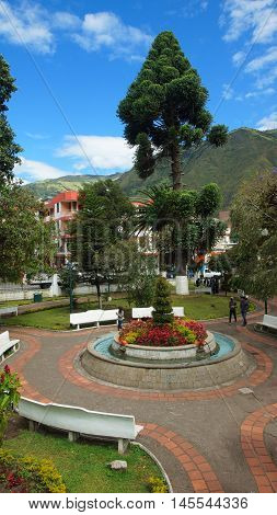 Banos de Agua Santa, Tungurahua / Ecuador - September 2 2016: View of Palomino Flores Park in the downtown of the city. Banos is located on the northern foothills of the Tungurahua volcano