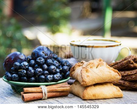 Fresh homemade pies with apples and cinnamon. Blue berries in the background. Tea in the garden. Autumn concept. Chokeberry (aronia). Blue berries and plums. Porcelain cup in the background