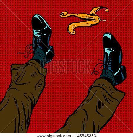 Slipping on the banana pop art retro comic drawing illustration. Men boots and a yellow banana peel