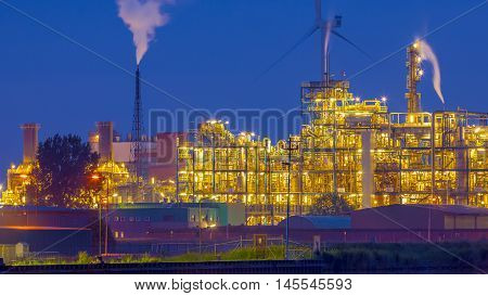 Heavy Chemical industrial area in twilight night